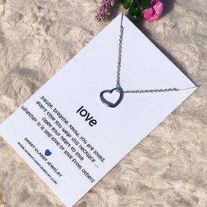Silver Open Heart Necklace for Gift with Love Mess